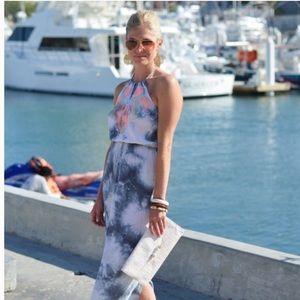 FLYING TOMATO Tie Dye Halter Maxi Dress